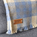checked blue and cream personalised throw