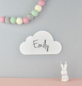 Monochrome Personalised Nursery Door Sign Cloud Acrylic