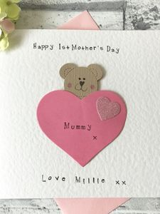 Personalised 1st Mother's Day Bear Card - personalised cards