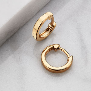 Gold Or Silver Small Plain Huggie Hoop Earrings - gifts for her