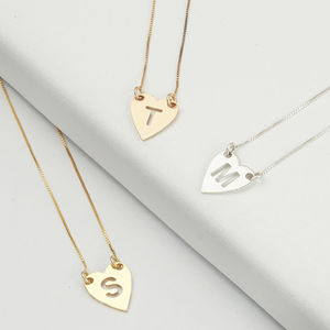 Sterling Silver Personalised One Letter Heart Necklace - lust list for her