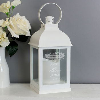 Personalised Couple's White Floral Lantern