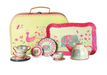 Indian Elephant Tin Tea Set