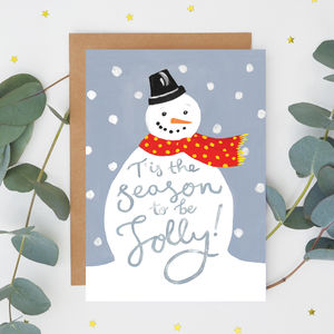Jolly Snowman Christmas Card - winter sale