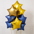 Inflated 10 Midnight Blue Star Foil Balloons