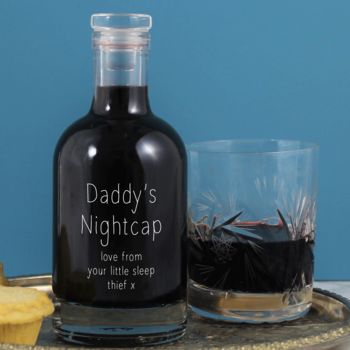 'Daddy's Nightcap' Personalised Etched Glass Bottle
