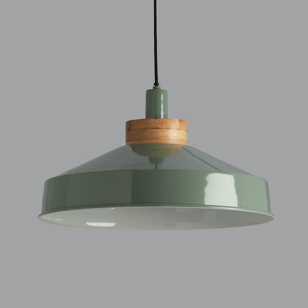 green pendant lighting. Bertie Old Green And Wood Pendant Light Lighting
