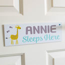 Personalised Jungle Giraffe Door Sign Plaque
