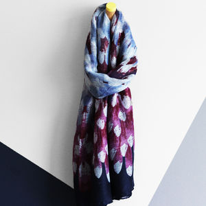 Faded Feathers Print Scarf - more