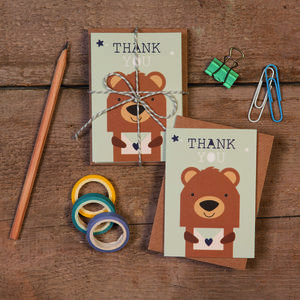 Children's Mini Thank You Cards Bear - thank you cards