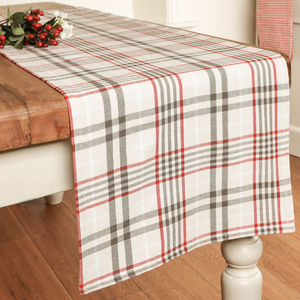 Cream Plaid Cotton Dining Table Runner