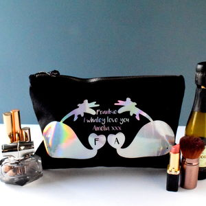 Personalised Holographic Love Whales Make Up Bag - wash & toiletry bags