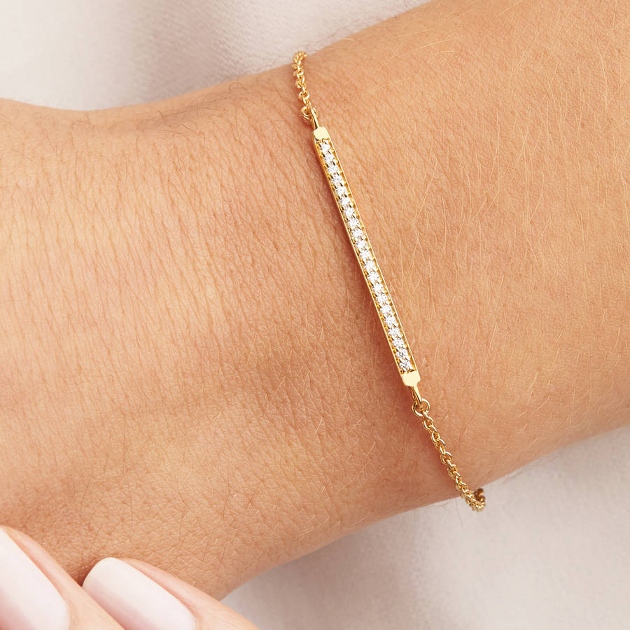 Silver Or Gold Diamond Style Bar Bracelet