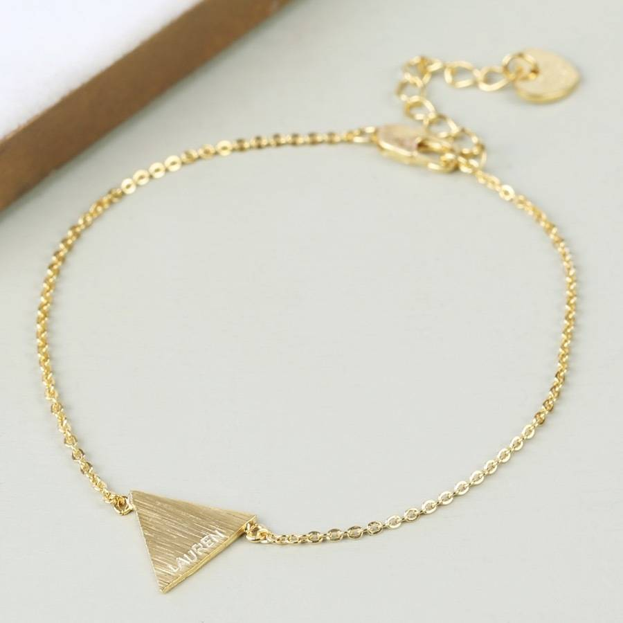 Personalised Triangle Bracelet With Name Gold