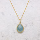 18ct Gold Vermeil Pear Drop Gemstone Necklace