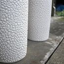 Stoneware Vase In Textured White Bead Glaze