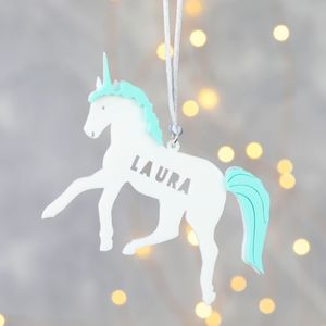 Personalised Acrylic Unicorn Hanging Decoration - unicorns