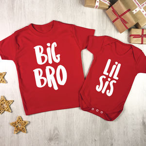 Big Bro/Sis Lil Bro/Sis Christmas Red And White Set