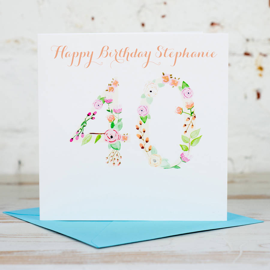 Personalised 40th Birthday Card By Yellowstone Art Boutique