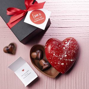 Artisan Chocolate Heart With Hidden Message - flowers & chocolates with a twist