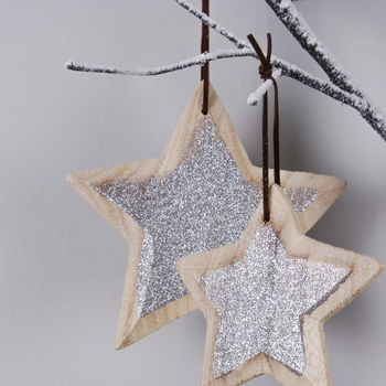 Pair Of Glitter Driftwood Star Decorations