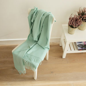 Mint And Turquoise Baby Alpaca Throw Bella