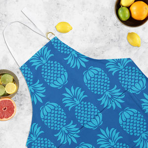 Pineapple Print Apron In Blue - cooking & food preparation