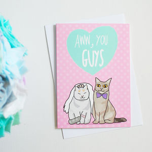 'Aww You Guys' Cat Themed Wedding Card - shop by category