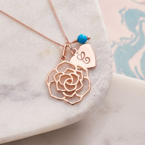 Rose Necklace In Rose Gold With Monogram - women's jewellery