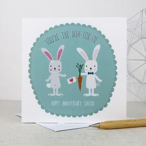 Anniversary 'You're The Bun For Me' Anniversary Card - personalised
