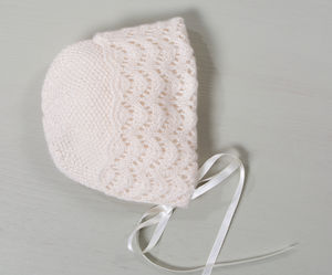 100% Cashmere Hand Knitted Sunshine Bonnet - clothing
