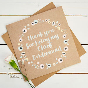Thank You Chief Bridesmaid Card Kraft Floral - wedding thank you gifts