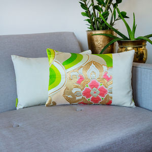 Vintage Cream Gold Green Floral Silk Cushion