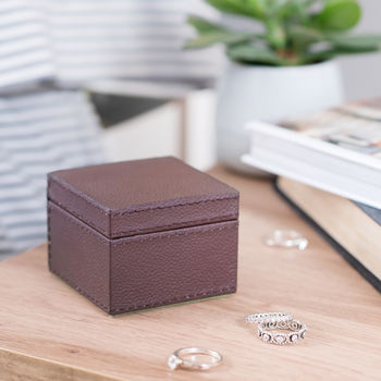 Personalised Square Leather Ring Box Brown
