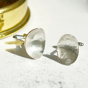 Textured And Domed Oval Silver Cufflinks