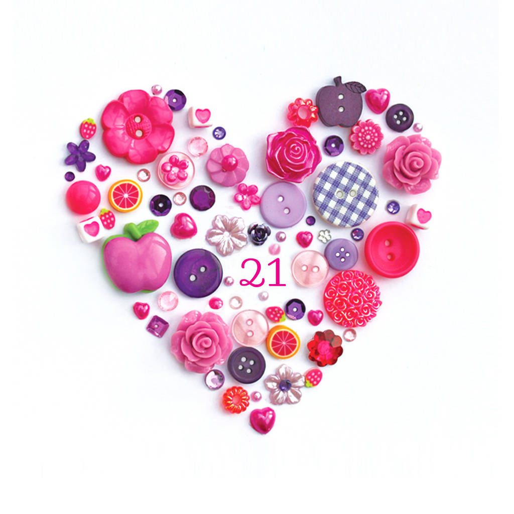 Personalised 21st Birthday Button Heart By Sweet Dimple