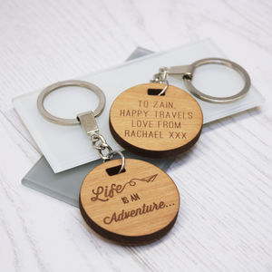 Personalised Wooden Cut Out Adventure Keyring
