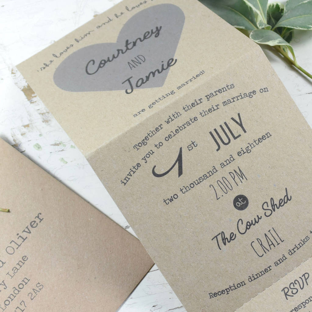 Recycled Heart Tri Folded Wedding Invitation recycled