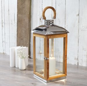 Tall Wood Candle Lantern Reclaimed - lights & lanterns