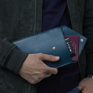 Personalised Leather Travel Wallet With Powerbank