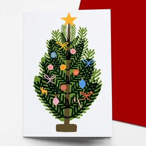 Set Of Eight Christmas Tree Christmas Cards