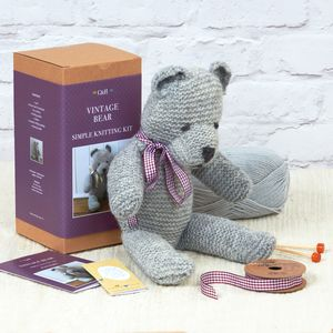 Vintage Bear Simple Knitting Kit - creative kits & experiences