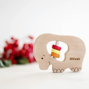 Personalised Elephant Wooden Rattle