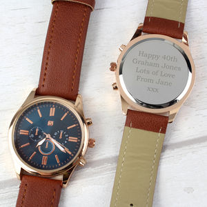 Mens Personalised Rose Gold Message Watch
