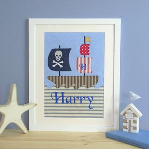 Personalised Pirate Ship Textile Picture