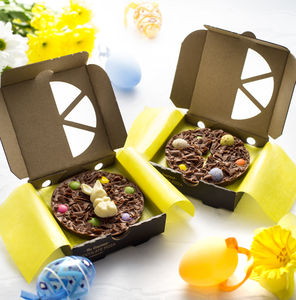Two Mini Easter Egg And Easter Bunny Chocolate Pizzas - unique easter ideas