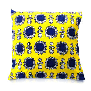 Dolce Yellow Printed Cushion