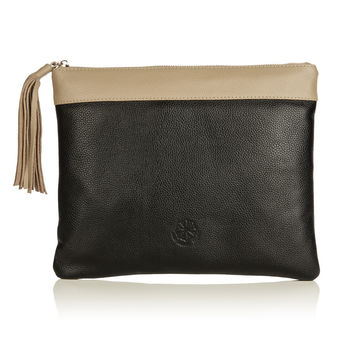 The Pimlico clutch Black with beige