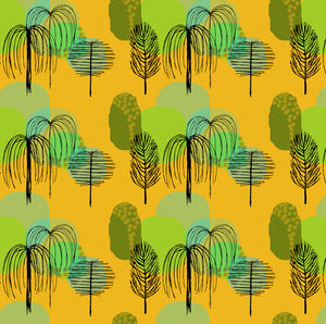 Mid Century Trees In Yellow Fabric - cushions