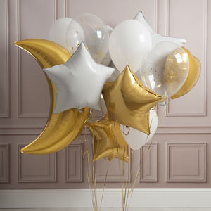 White And Gold Crazy Party Foil Balloon Pack